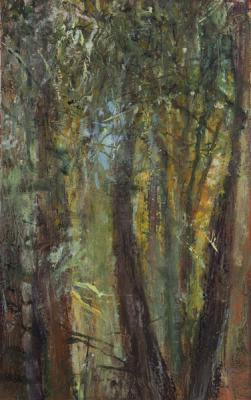 "Kathy Gore-Fuss, ""Sylvan Pillars II"", 2013, oil on paper, 7.5 x 5"" im."