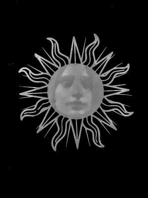 "Shay Bredimus, ""The Sun"", 2017, tattoo ink and wax crayon on drafting film 16"" x 10"""