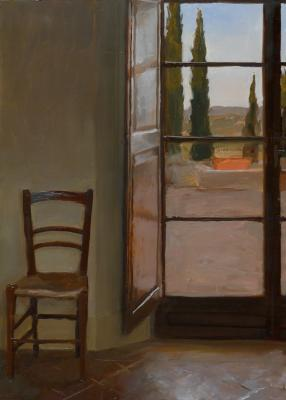 "Kenny Harris, ""Chair with Exterior"", 2011, oil on panel, 13.75 x 9.75"""