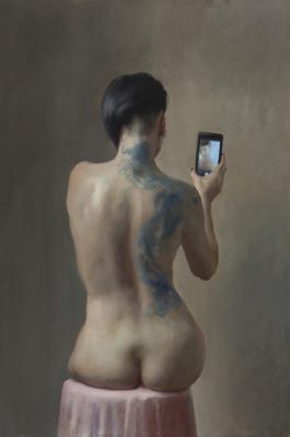 """Modern Vanity"", 2017, oil on canvas, 30"" x 20"""
