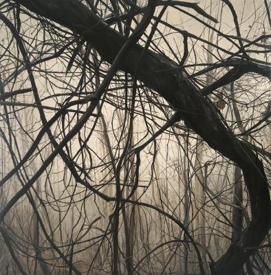 """Kimberly Clark, """"Skyuka in the Fog"""", 2018, oil on canvas, 26"""" x 26"""""""
