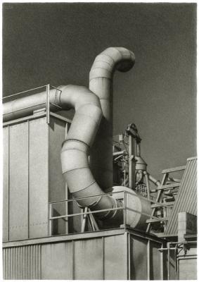 "Ira Korman, ""Serpent"", 2004, charcoal on paper, 32.25 x 22.75"" im."