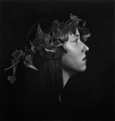 "Ira Korman, ""Ivy From Our Mother's Garden"", 1995, charcoal on paper, 35.5 x 34"""
