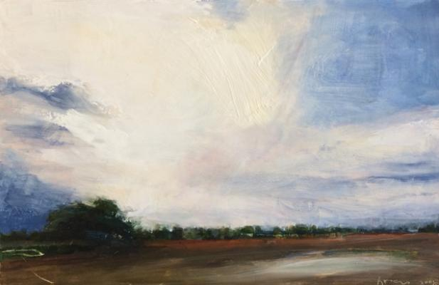 """Large Cloud Above The Slough"", 2008, oil on paper, 5"" x 7"""