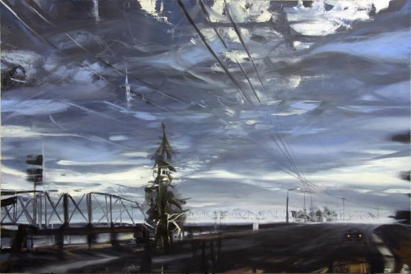 "Laura Hamje, ""Before the Bridge"", 2013, oil on linen, 48 x 72"""