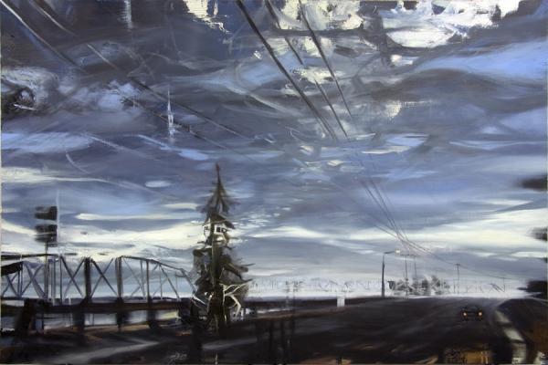 "Laura Hamje, ""Before the Bridge"", 2013, oil on linen, 48 x 72"""