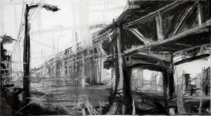 "Laura Hamje, ""Eastlake"", 2013, charcoal & pastel on paper, 9 x 16.5"""