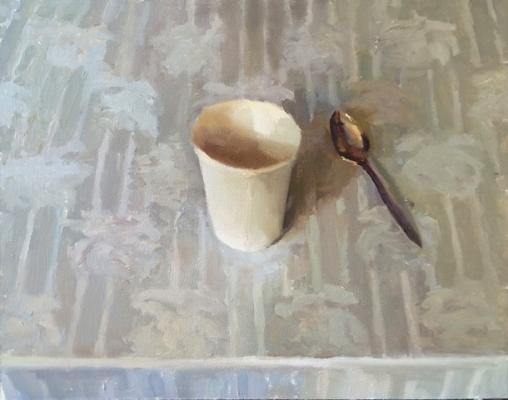 """Laura Swytak, """"White Cup"""", 2015, oil on canvas, 16 x 20"""""""