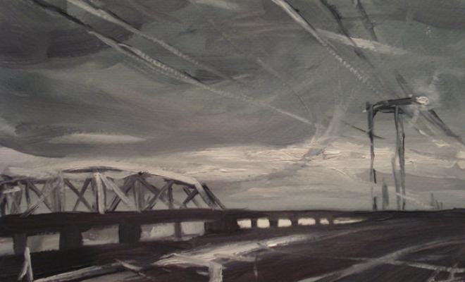 "Laura Hamje, ""Streetlight"", 2013, oil on paper, 7.25 x 12"""