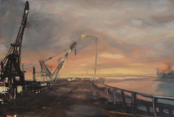 "Laura Hamje, ""Sunrise"", 2014, oil on paper, 15 x 22"""
