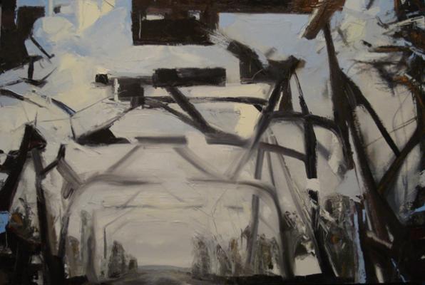 "Laura Hamje, ""Tunneling"", 2014, oil on linen, 24 x 35"""
