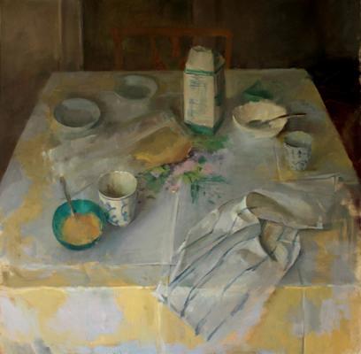 "Laura Swytak, ""Lavender Breakfast"", 2010, oil on canvas, 48 x 48"""