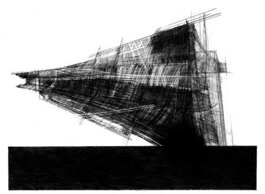 "Steve Costie, ""Lebbeus Woods Project"", 2013, graphite on paper, 21 x 28.5"" im."