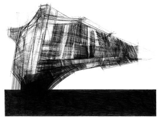 """Steve Costie, """"Lebbeus Woods Project 2"""", 2013, graphite on paper, 22.5 x 30.5"""""""