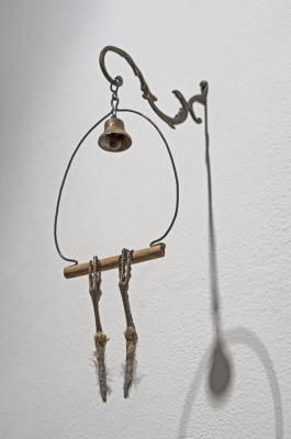 "Sarah Perry, ""Letting Go"",  2015, brass, quail parts (found), wood, mixed media, 12.5 x 4 x 5.25"""