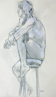 "Phillip Levine, ""Sitting Woman"", nd, graphite, wash & gouache on paper, 12.5x10"""