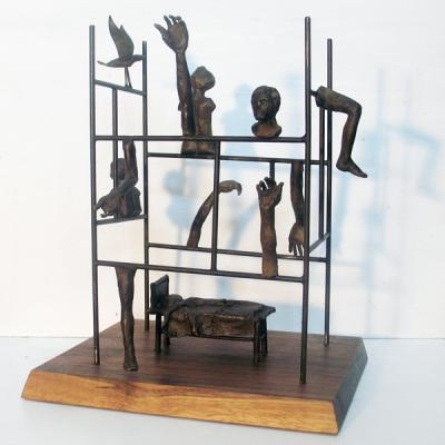 "Phillip Levine, ""3am"", 2015, bronze, 13"" x 14"" x 14"""
