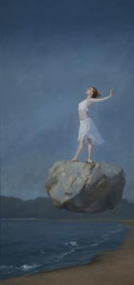 "Judy Nimtz, ""Levitas"", 2018, oil on panel, 40"" x 19"""