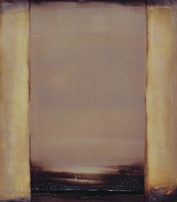 "Dale Lindman, ""Shadow's Gate"", 2014, oil & wax on Yupo paper, 8 x 7"" im., 17 x 15"" fr."
