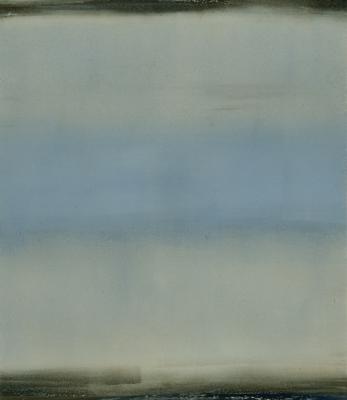 "Dale Lindman, ""Blue Hour"", 2014, oil, wax on Yupo paper, 8 x 6.75"" im., 16.25 x 15.25"" fr."