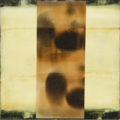 "Dale Lindman, ""Eastern Screen"", 2014, oil & wax on Yupo, 7 x 7"""