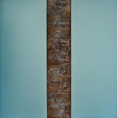"Dale Lindman, ""Split Light (Blue)"", 2014, mixed media, 25.25 x 25.25"""