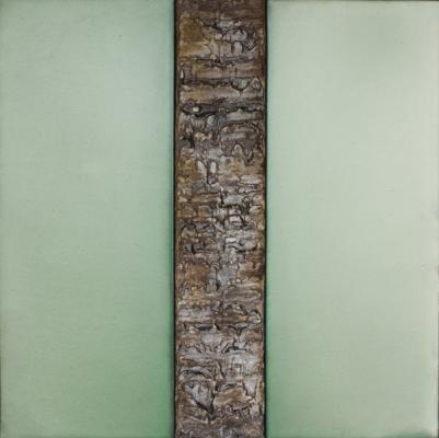 "Dale Lindman, ""Split Light (Green)"", 2014, mixed media, 25.25 x 25.25"""