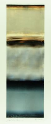 "Dale Lindman, Light Coming Through, 2015, oil, wax on Yupo paper, 20.25 x 6.75"" im., 33.25 x 18.25"" fr."