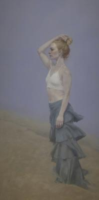 "Judy Nimtz, ""Litore II"", 2018, oil on panel, 72"" x 36"