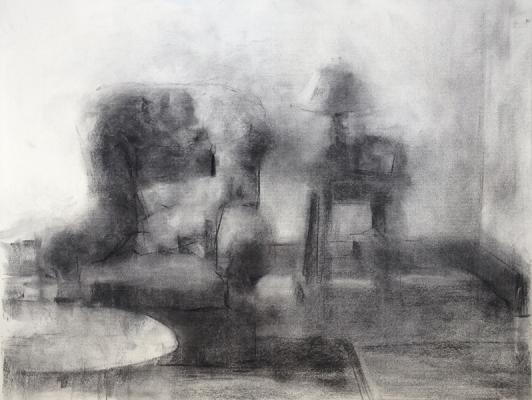 "Eric Elliott, ""Living Room"", charcoal on paper, 18 x 24"""