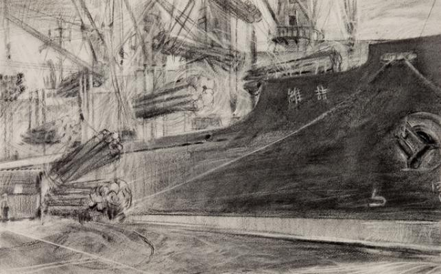 "Kathy Gore Fuss, ""Loading Day Two"", 2015, charcoal on paper, 13.5 x 21"""