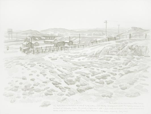 "Zhi Lin, ""The Location of the No. 6 Mine in Rock Springs"", 2007, Chinese ink on paper, 8.5"" x 11"""
