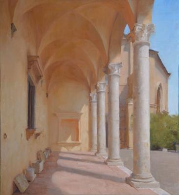 """Kenny Harris, """"The Loggia of Palazzo Piccolomini, Pienza"""", 2015, oil on panel, 24"""" x 22"""""""