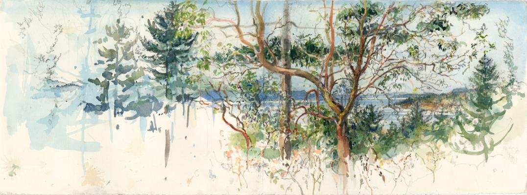 """Elizabeth Ockwell, """"Gnemes Channel"""", 2013, mixed media on paper, 11 x 30"""""""