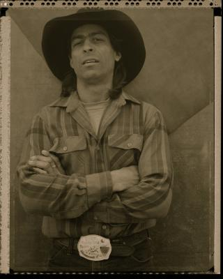 """""""Wes, White Swan (Rodeo triptych)"""", triptych completed 1986, sepia-toned silver gelatin print, 20 x 16"""" paper size"""