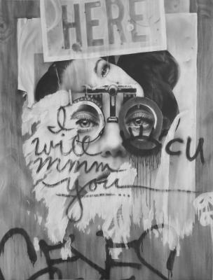 """Melissa Cooke, """"No Place Like Home: Eyes"""", 2015, graphite on paper, 50"""" x 38"""""""