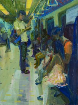 """Kathy Liao, """"Metro Connection Blue"""", 2016, Oil on canvas, 32"""" x 24"""""""