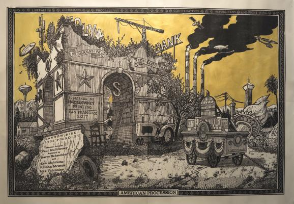 """American Procession (Central Monument panel)"", Sandow Birk and Elyse Pignolet, 2017, woodblock print on mulberry paper, 48"" x 60"", Printed and Published by Mullowney Printing, San Francisco"