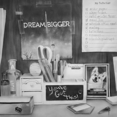 """Melissa Cooke, """"Dream Bigger"""", 2016, graphite on paper, 38.5"""" x 38.5"""""""