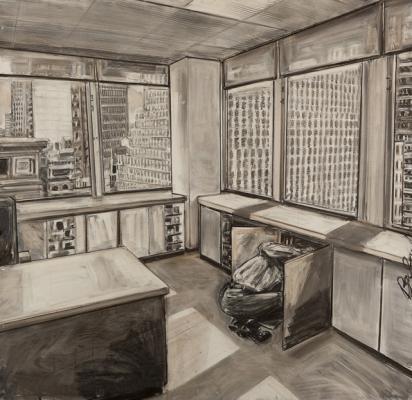 "David Bailin, ""Missing"",2012,charcoal & coffee on prepared paper, 52 x 54"""