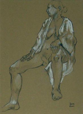 """Phillip Levine, """"Model in Robe"""", 2012, graphite on paper, 12.5 x 8.5"""" image"""