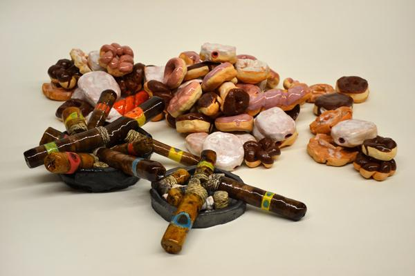 "Brian Murphy, ""Cigars, Donuts"", ceramic"