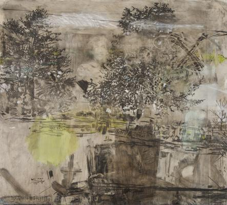 """David Bailin, """"New House"""", 2016, charcoal, pastel and coffee on prepared paper, 72"""" x 80"""""""