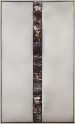 "Dale Lindman, ""Night's Watch"", 2018, acrylic and encaustic on birch panels, 61.25"" x 36.75"""