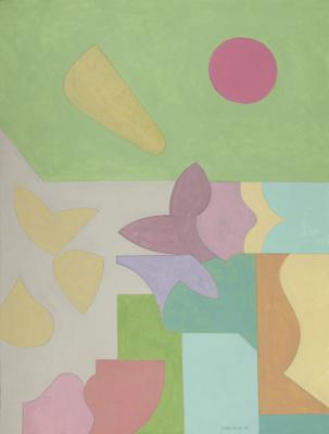 "Robert Perlman, ""Number 6"", 2014, acrylic on paper, 16 x 12"""