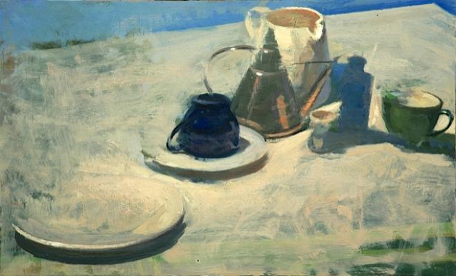 """Dean Fisher, """"Still Life Against a Clear Sky"""", oil on panel, 20 x 26"""""""