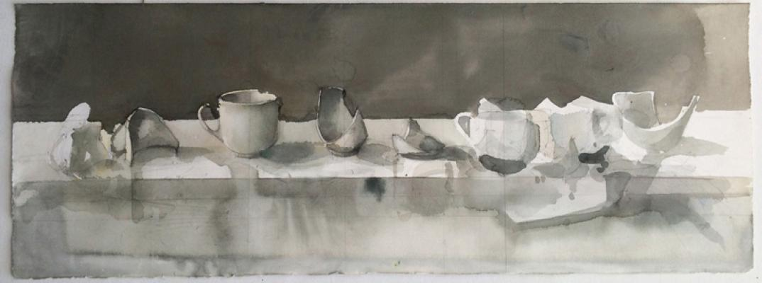"""Elizabeth Ockwell, """"White Cup with Shards"""", 2015, pencil & watercolor on paper, 22 x 30"""""""