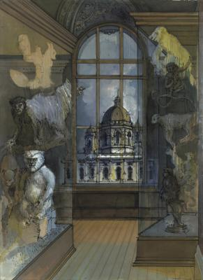 Elizabeth Ockwell, Natural History Museum, Vienna 1989, pencil, ink, and waterco