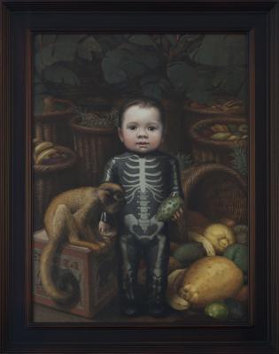 "Peter Zokosky, ""Skeleton Boy"", 2014, oil on panel, 24"" x 18″"