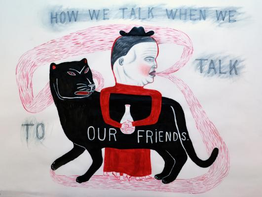 "Fred Stonehouse, ""Our Friends"", 2016, acrylic, graphite and crayon on vellum, 18 x 24"""
